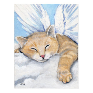 Gabrielle, chat d'ange en nuages peignant la carte