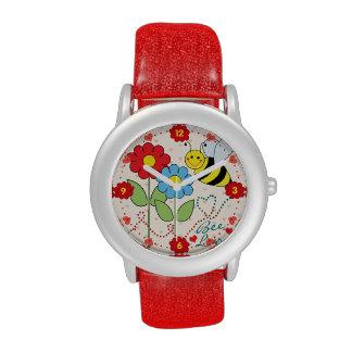 Gaffez l abeille avec amour d abeille de fleurs montres cadran