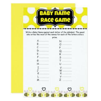 Gaffez la course de nom de bébé d'abeille - jeu de carton d'invitation  12,7 cm x 17,78 cm