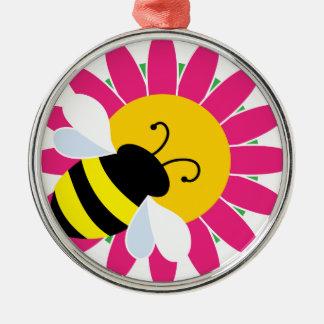 Gaffez l'abeille sur la fleur ornement rond argenté