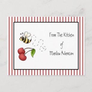 Gaffez les cartes de recette de cerises d'abeille