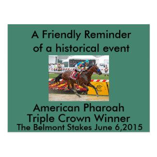 Gagnant américain de Triple Crown de pharaon Carte Postale