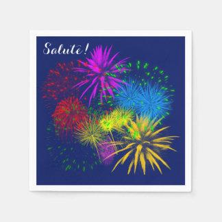 Gai drôle de feux d'artifice colorés serviettes jetables