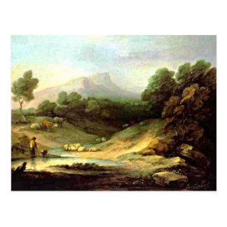 Gainsborough - paysage de montagne avec le berger cartes postales