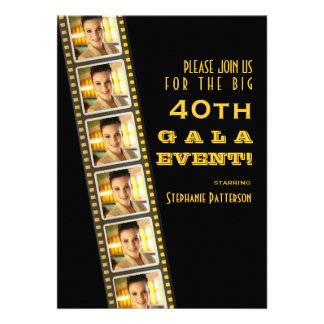 Gala de photo d anniversaire de célébrité de premi cartons d'invitation personnalisés