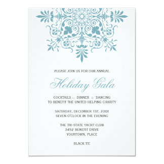 Gala ornemental baroque de vacances de bleu carton d'invitation  11,43 cm x 15,87 cm