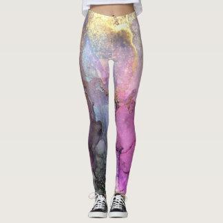 Galaxie - art abstrait d'encre par Karen Ruane Leggings
