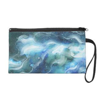 Galaxie de nébuleuse de l'espace d'aquarelle pochettes avec dragonne