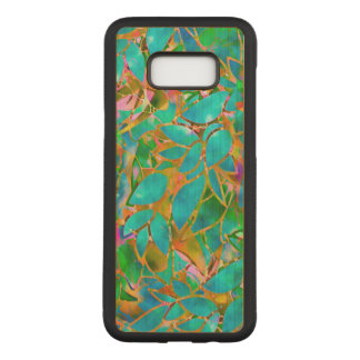 Galaxie S8 de Samsung+ Verre souillé floral de cas Coque En Bois Samsung Galaxy S8 Plus