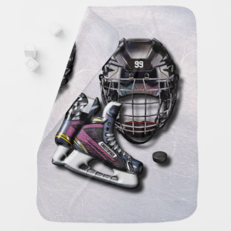 Galet de casque de patins de hockey sur glace avec couvertures pour bébé