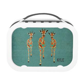 Gamelle ambre et azurée de girafes