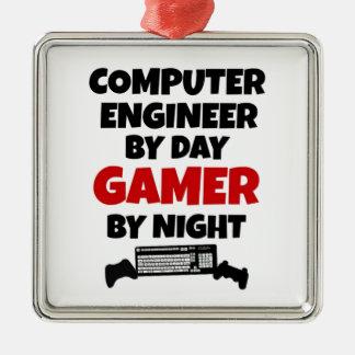Gamer d'ingénieur informaticien ornement carré argenté