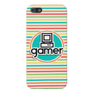 Gamer, rayures lumineuses d'arc-en-ciel coques iPhone 5