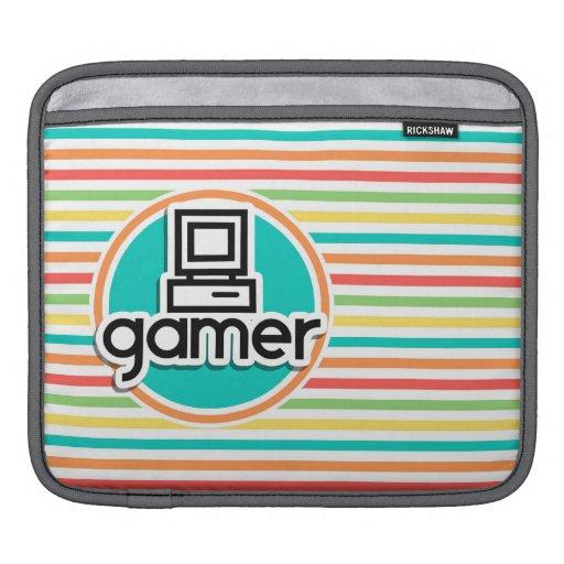 Gamer, rayures lumineuses d'arc-en-ciel housses iPad