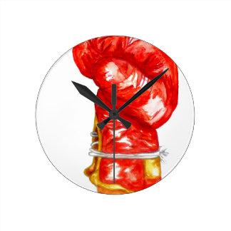 Gant de boxe rouge horloge ronde