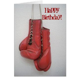 Gants de boxe de carte de joyeux anniversaire