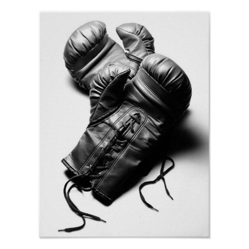 gants de boxe en noir et blanc posters zazzle. Black Bedroom Furniture Sets. Home Design Ideas
