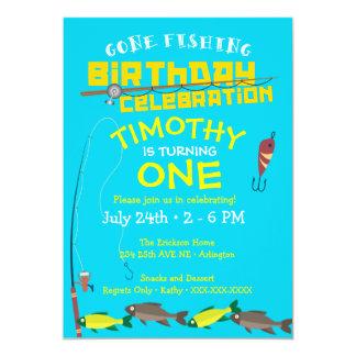 Garçon allé pêcher l'invitation d'anniversaire carton d'invitation  12,7 cm x 17,78 cm