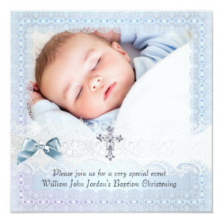 Garçon blanc bleu 2 de croix de bijou de photo de carton d'invitation  13,33 cm