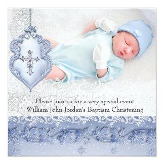 Garçon blanc bleu de croix de bijou de photo de carton d'invitation  13,33 cm