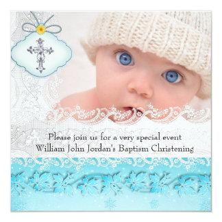 Garçon blanc bleu turquoise de croix de bijou de carton d'invitation  13,33 cm
