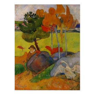 Garçon breton de Paul Gauguin- dans un paysage Carte Postale