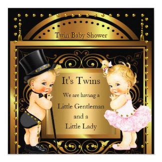Garçon de baby shower et blonde jumeaux d'or de carton d'invitation  13,33 cm