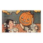 Garçon de citrouille (carte vintage de Halloween) Modèles De Cartes De Visite