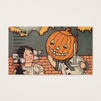 Garçon de citrouille (carte vintage de Halloween) Cartes De Visite