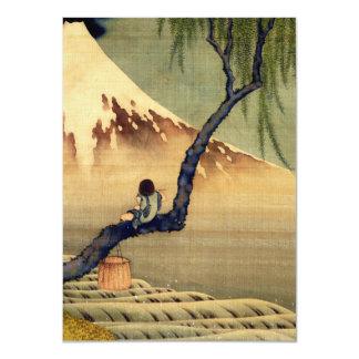 Garçon de Hokusai regardant le cru de Japonais du Carton D'invitation 11,43 Cm X 15,87 Cm