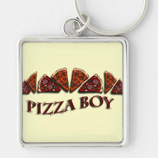 Garçon de pizza porte-clé carré argenté