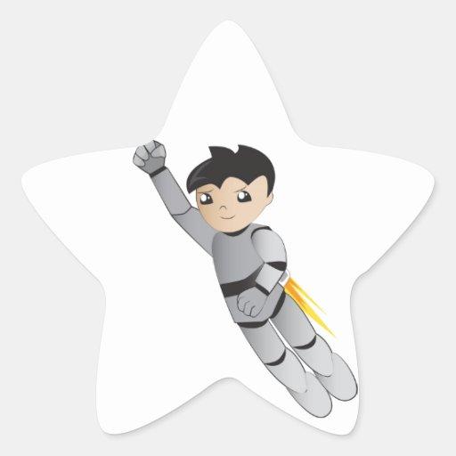 Garçon de robot sticker en étoile