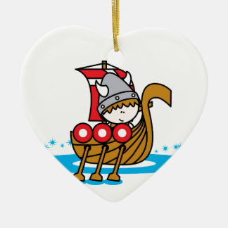 Garçon de Viking Ornement Cœur En Céramique