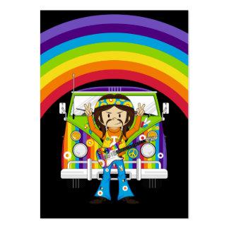 Garçon hippie avec la guitare et camping-car carte de visite grand format