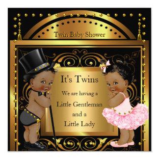 Garçon jumeau de baby shower et or de fille carton d'invitation  13,33 cm