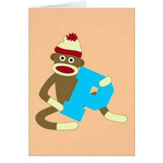 Garçon P de monogramme de singe de chaussette Carte De Vœux
