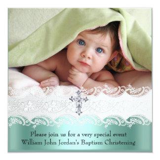Garçon vert en bon état de croix de bijou de photo carton d'invitation  13,33 cm