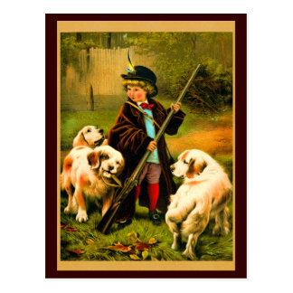 Garçon victorien et chiens de St Bernard Carte Postale