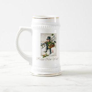 Garçon vintage de ramoneur de nouvelle année mugs à café