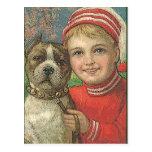 garçon vintage et chien de carte postale