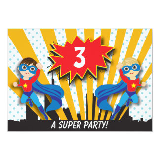 Garçons Brown de l'anniversaire | de super héros Carton D'invitation 12,7 Cm X 17,78 Cm