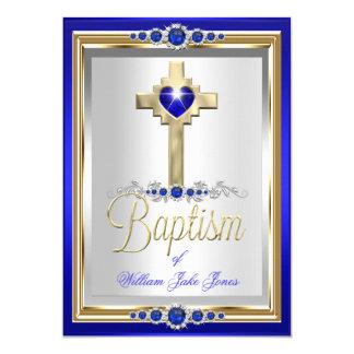 Garçons de baptême de baptême ou perle bleue carton d'invitation  12,7 cm x 17,78 cm