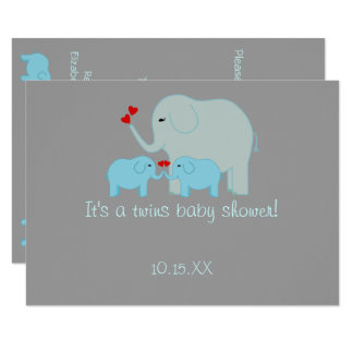 Garçons de jumeau de baby shower d'éléphant carton d'invitation  11,43 cm x 15,87 cm