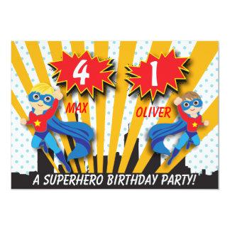 Garçons de l'anniversaire | de super héros de cartons d'invitation personnalisés