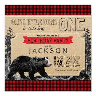 Garçons de plaid de Buffalo d'anniversaire de Carton D'invitation 13,33 Cm