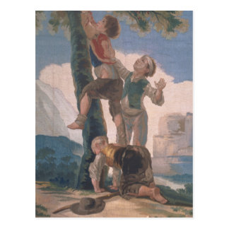 Garçons grimpant à un arbre carte postale