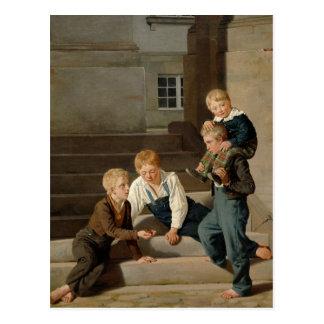 Garçons jouant des matrices devant Christiansborg Carte Postale