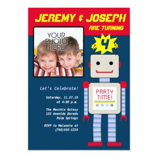 Garçons jumeaux, anniversaire de robot carton d'invitation  12,7 cm x 17,78 cm