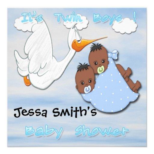 Garçons jumeaux - invitations de baby shower de la