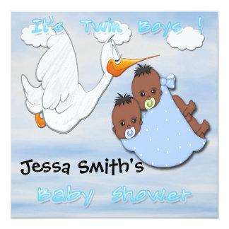 Garçons jumeaux - invitations de baby shower de la carton d'invitation  13,33 cm